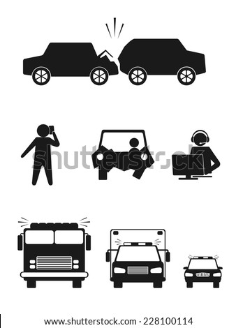 Set of illustrations of car collision, vector. - stock vector