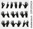 Set of illustrations of numbers in the form of hands from 1 to 10 - stock vector