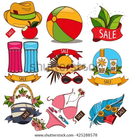 Set of illustrations of summer vacation resort. Sale of summer goods. Swimming mattress, umbrella, shirt, ball, swimsuit, hat.