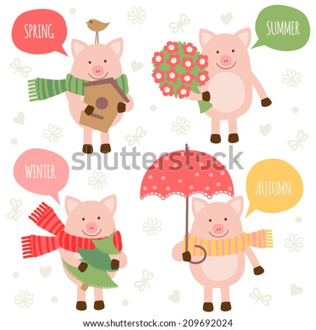 Set of illustrations of the piglets. Seasons. - stock vector