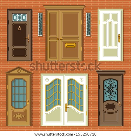 set of illustrations with a vintage doors - stock vector