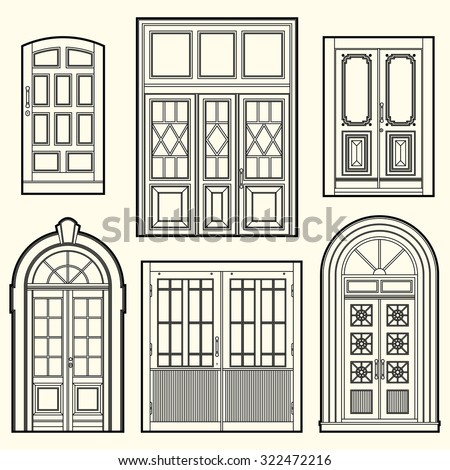 Set Of Illustrations With A Vintage Doors Architectural Elements Isolated Objects