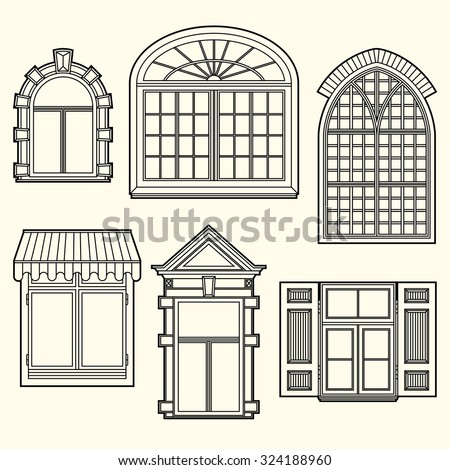 Seamless pattern vintage windows stock vector 329207891 for Old window design