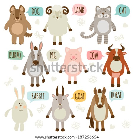 Set of illustrations with animals. Pets. - stock vector