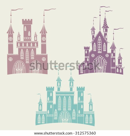 Set of illustrations with fortresses. Ancient castles. - stock vector