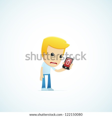 set of illustrations with funny cartoon casual character in different situations - stock vector
