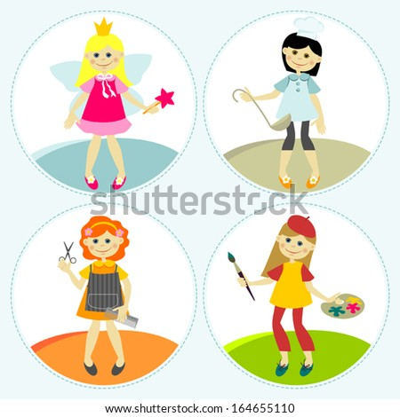 Set of illustrations with girls. Different types of activities. - stock vector
