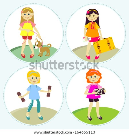 Set of illustrations with girls. Different types of activities.