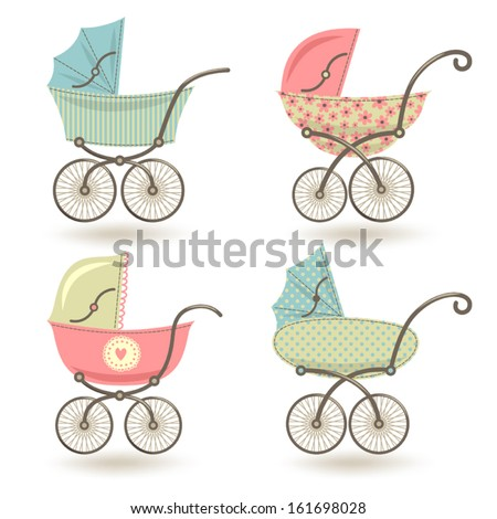 Set of illustrations with prams. - stock vector