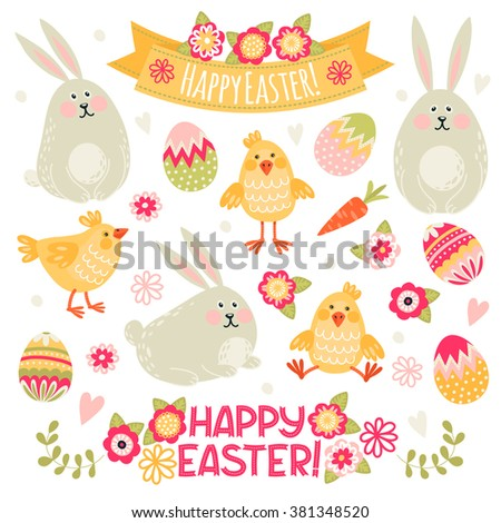 Set of illustrations with rabbits, chickens and eggs. Happy Easter! - stock vector
