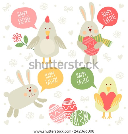 Set of illustrations with traditional greetings. Happy Easter! - stock vector