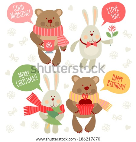 Set of illustrations with traditional greetings. Rabbit and bear. - stock vector