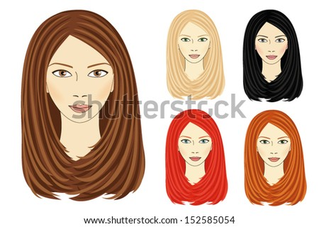 Set of images for the same girl based on different hair, eyes, lips and skin color, vector - stock vector