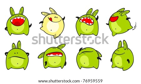 Set of images of a small green monster - stock vector