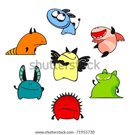 Set of images of amusing multi-coloured unknown animals #9 - stock vector