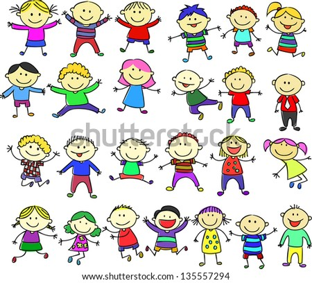 Set of images of funny kids on a white background - stock vector