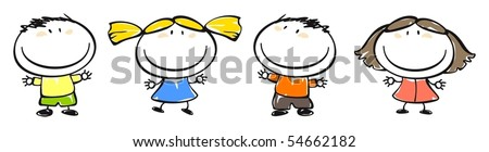 Set of images of funny kids on a white background #30, child's drawing - stock vector