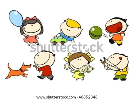 set of images of funny kids on a white background #1, playing theme - stock vector
