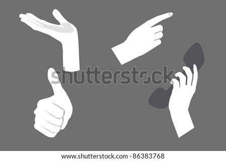 Set of images of human hands with various gestures, vector graphics, isolated, white background