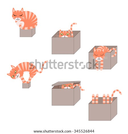 set of images of icons with a cat in a cardboard box. Vector Illustration - stock vector