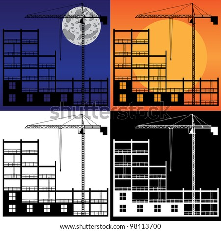 Set of images of lifting crane and building under construction. - stock vector