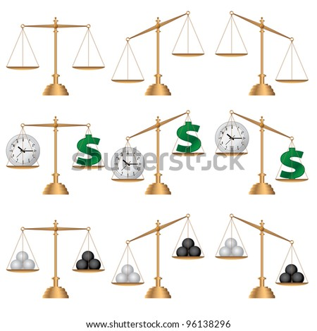 Set of images of scales on the white background. - stock vector
