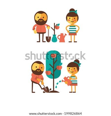 Set of images of the characters. Environmental activities. Guy and girl planting a tree