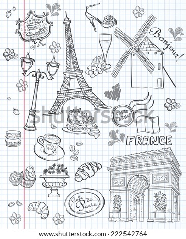 Set of images of various attractions, Paris, France Set of images of various attractions, Paris, France. Black contour - stock vector