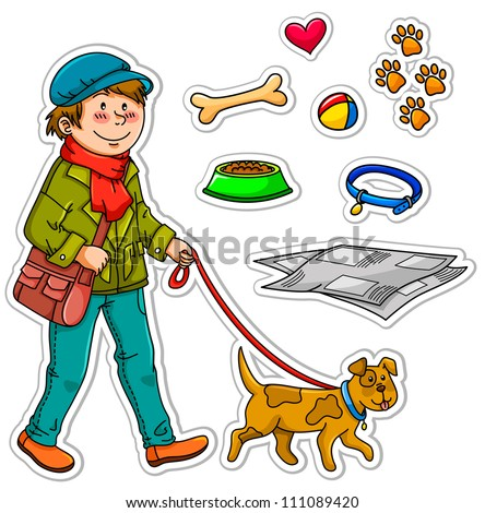 set of images related to pet dogs (JPEG available in my gallery) - stock vector