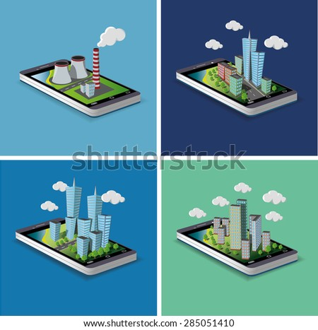 Set of images. Smart phone city map navigation - mobile concept . vector - stock vector