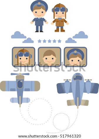 Set of images with the pilots, planes, flat style cartoon,  vector illustration