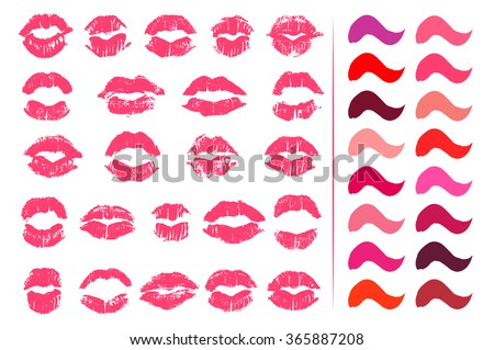 Set of 23 imprints of lipstick. Silhouettes of lips shapes isolated on white background. Big palette of red, pink, fuchsia, beige and purple color lipstick swatches. Trace of real lipstick texture. - stock vector