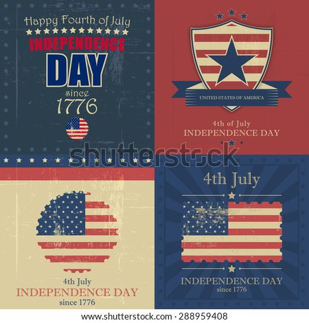 Set of independence day vector background with usa flag and grunge in vintage style. - stock vector