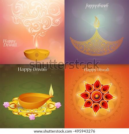 Set indian festival diwali greeting cards stock photo photo vector set of indian festival diwali greeting cards m4hsunfo