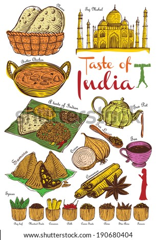 Set of indian food and ingredients vector stock vector for Art of indian cuisine