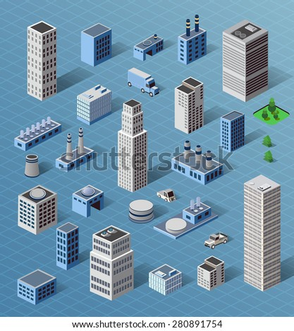 Set of industrial and residential urban industrial buildings, houses and buildings in perspective