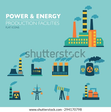 Set of industry power icons in flat design style. - stock vector