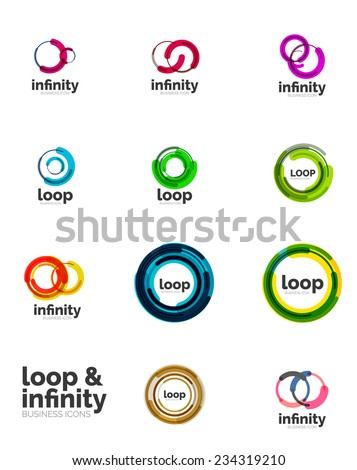 Set of infinity and loop business logos, large collection - stock vector