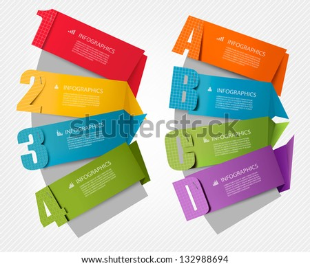 Set of info graphics banners with numbers and letters. Vector illustration - stock vector