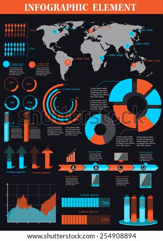 set of infographic element blue and orange -vector