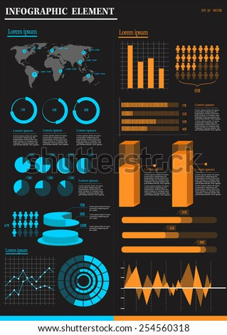 set of infographic element with the black background - stock vector