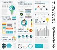 Set of Infographic Elements. Business Icons, Idea Concept. Teamwork and Mobile Technologies Elements. Charts and Diagrams, Puzzle Pieces and Web Site Templates - stock vector