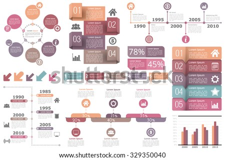 Set of infographic elements - circle diagram, timelines, arrows, diagram with percents, bar graph, objects with numbers (steps or options) and text, vector eps10 illustration