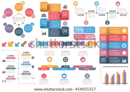 Set of infographic elements - circle diagram, timelines, arrows, diagram with percents, bar graph, objects with numbers (steps or options) and text, vector eps10 illustration - stock vector