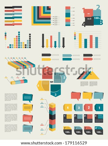 Set Infographic Elements Collection Graphs Charts Stock Vector ...