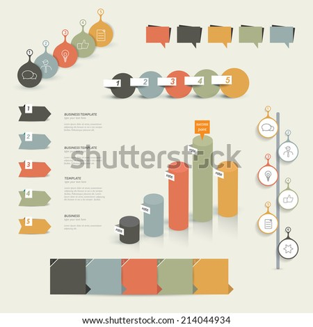Set of infographic elements. Diagrams, speech bubbles, graphs and icons. Vector shapes.  - stock vector