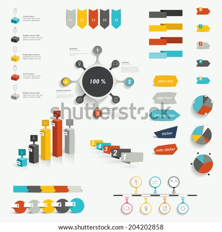 Set of infographic elements. Diagrams, speech bubbles, graphs, pie circle charts and icons. Vector shapes.  - stock vector