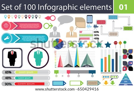 Set 100 infographic elements icon pack stock vector royalty free set of 100 infographic elements icon pack charts graphics coloured percentage ccuart Choice Image