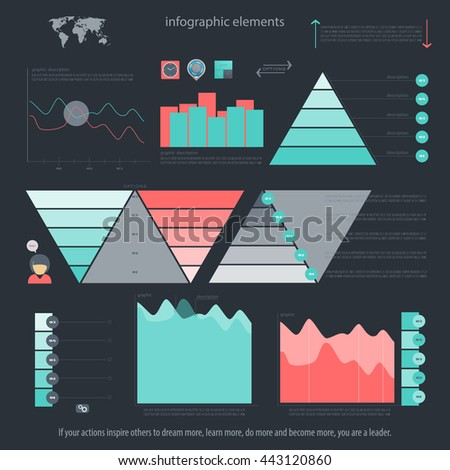 set of infographic elements isolated on dark background. vector timeline and option graph symbol. pyramid info graphic icons with world map. financial statistic and growth report presentation banner - stock vector