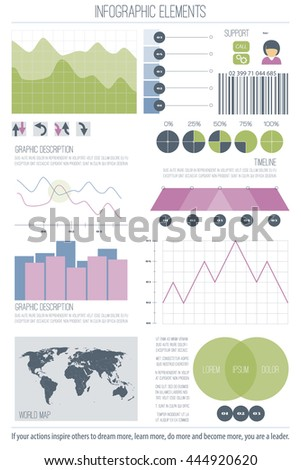 set of infographic elements isolated on white background. vector timeline, option graph, bar code symbol. pie chart info graphic icons. financial statistic and growth report presentation banner